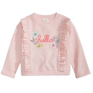 """NWT New Impressions Pink Ruffled """"Hello"""" Top 24mo"""
